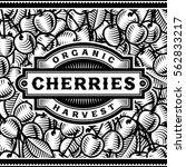 retro cherry harvest label... | Shutterstock . vector #562833217