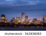 Stock photo boston back bay at night with blue skyline 562838083