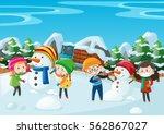 children making snowman in the... | Shutterstock .eps vector #562867027