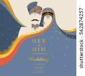 indian wedding invitation card... | Shutterstock .eps vector #562874257