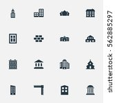 set of 16 simple architecture... | Shutterstock .eps vector #562885297