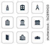 set of 9 simple construction... | Shutterstock . vector #562890433