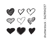 black brush stroke hearts set.... | Shutterstock .eps vector #562904257