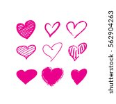 pink brush stroke hearts set.... | Shutterstock .eps vector #562904263