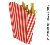 french fries in a striped... | Shutterstock . vector #562937857