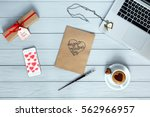 cozy working place top view on... | Shutterstock . vector #562966957