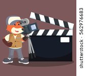 fox movie cameraman with sign | Shutterstock .eps vector #562976683
