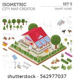 flat 3d isometric smart home... | Shutterstock .eps vector #562977037