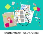 clipboard with hospitals agenda ... | Shutterstock .eps vector #562979803
