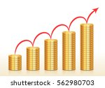 columns of coins and red arrow... | Shutterstock .eps vector #562980703