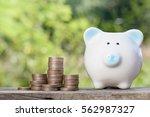 piggy bank money coin stack...   Shutterstock . vector #562987327