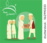 muslim man giving zakat to... | Shutterstock .eps vector #562990333