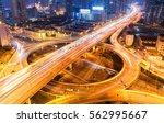 city overpass at night ... | Shutterstock . vector #562995667