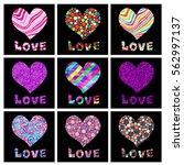 set of vector heart backgrounds ...   Shutterstock .eps vector #562997137