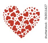 big heart composed of small red ... | Shutterstock .eps vector #563011627