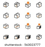 simple set of box and crates... | Shutterstock .eps vector #563023777