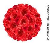 vector red roses bouquet... | Shutterstock .eps vector #563030527