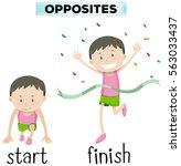 opposite words for start and... | Shutterstock .eps vector #563033437