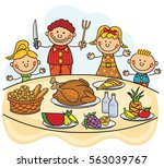 thanksgiving dinner kids... | Shutterstock .eps vector #563039767