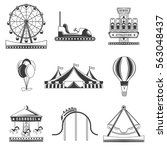 set of amusement park... | Shutterstock .eps vector #563048437