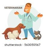 smiling male veterinarian.... | Shutterstock .eps vector #563050567
