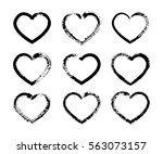 the vector set of black brush... | Shutterstock .eps vector #563073157