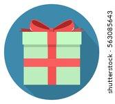 present icon flat design... | Shutterstock .eps vector #563085643