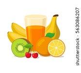 glass of fruit juice. healthy... | Shutterstock .eps vector #563086207