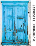 Small photo of Wooden shutter on a traditional greek house in the village Vourliotes on the aegean island Samos