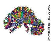 colored zentangle chameleon.... | Shutterstock .eps vector #563086903