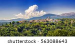view of the medieval village of ... | Shutterstock . vector #563088643