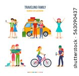 traveling family  journey ... | Shutterstock .eps vector #563090437
