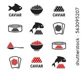 caviar  roe  fish eggs icons... | Shutterstock .eps vector #563095207