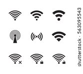 wireless and wifi icons. black... | Shutterstock .eps vector #563095543