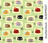 seamless pattern with cute cats.... | Shutterstock . vector #563099047