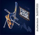 free ride. stunt headfirst of... | Shutterstock .eps vector #563099203