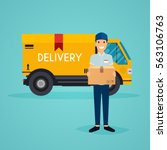 delivery man  and track. flat... | Shutterstock .eps vector #563106763