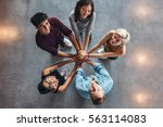 group of happy young students... | Shutterstock . vector #563114083
