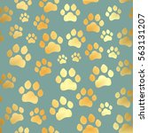 paw print seamless. traces of... | Shutterstock .eps vector #563131207