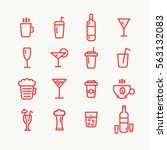linear red drinks icons set....