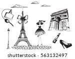 collection of fashion objects... | Shutterstock .eps vector #563132497