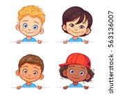Cartoon collection of little boys portraits, various human races. Vector children characters of different nationalities with billboard. | Shutterstock vector #563136007