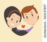 love couple flat illustration.... | Shutterstock .eps vector #563137897