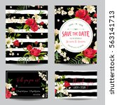save the date wedding... | Shutterstock .eps vector #563141713
