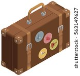 isometric brown luggage with... | Shutterstock .eps vector #563149627