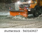 Small photo of VELIKA GORICA, CROATIA - JANUARY 13th, 2017 : Snowplow cleaning streets in the aggravated traffic due to strong snowfall in Velika Gorica, Croatia.
