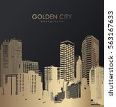 golden cityscape with... | Shutterstock .eps vector #563167633