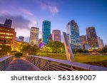Small photo of Downtown Houston skyline in Texas USA at twilight