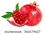 pomegranate isolated on white... | Shutterstock . vector #563179627