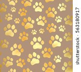 paw print seamless. traces of... | Shutterstock .eps vector #563180917